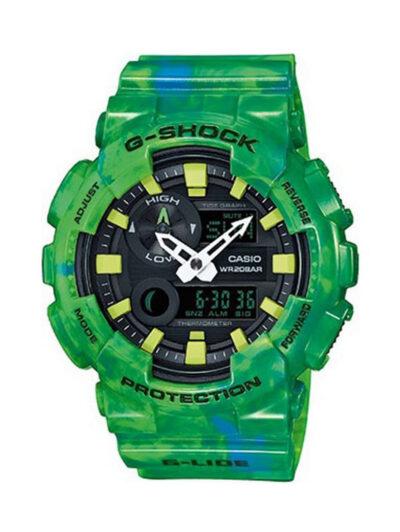 Ρολόι Casio G-SHOCK CLASIC, αναλογικο , με ψηφιακες ενδειξεις πάνω κάτω του καντραν , με τριασδιάστατο σχεδιασμό, με πράσινο καουτσουκ μπειζελ και λουρακι και γαλάζιο καντράν, χρονόμετρο, αδιάβροχο